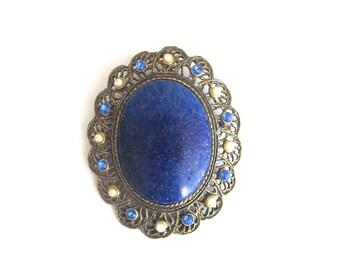 Vintage Lapis Rhinestone Brooch Pendant Blue Rhinestone Pearls Art Nouveau