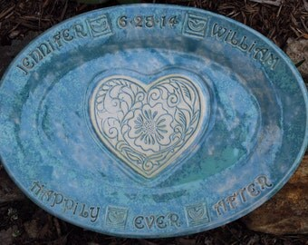 Personalized. Wedding. Personalized Wedding. Gift. Wedding Gift. Unique. Handmade. Serving. Tray. Gifts for the Couple. Heart. Love. Ceramic