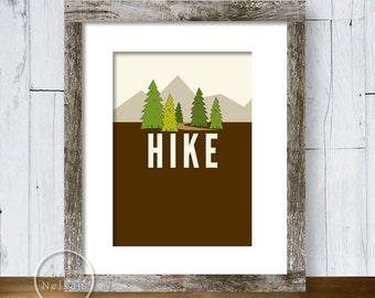 Hike Illustration Art Print 5x7 - Instant Download