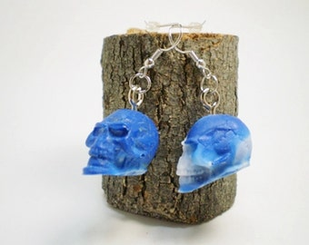 Acrylic Skull Earrings - Blue and White - Hand Poured - 2nd