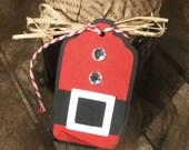 50% Christmas in JulySALE - SANTA SUIT Christmas Gift Tags, Santa Gift Tags, Holiday gift tags - Set of 6