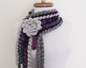 Ringlet Scarf With Flower Brooch (Purple Grey Dark Blue)-Handmade Scarf-Women Accessories