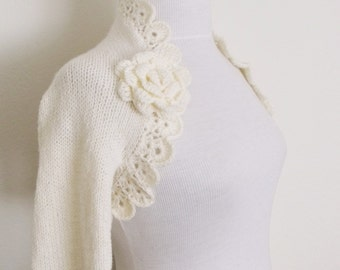 Ivory Wedding shrug- Bridal shrug long sleeves  With Flower Brooches-Ready for shipping