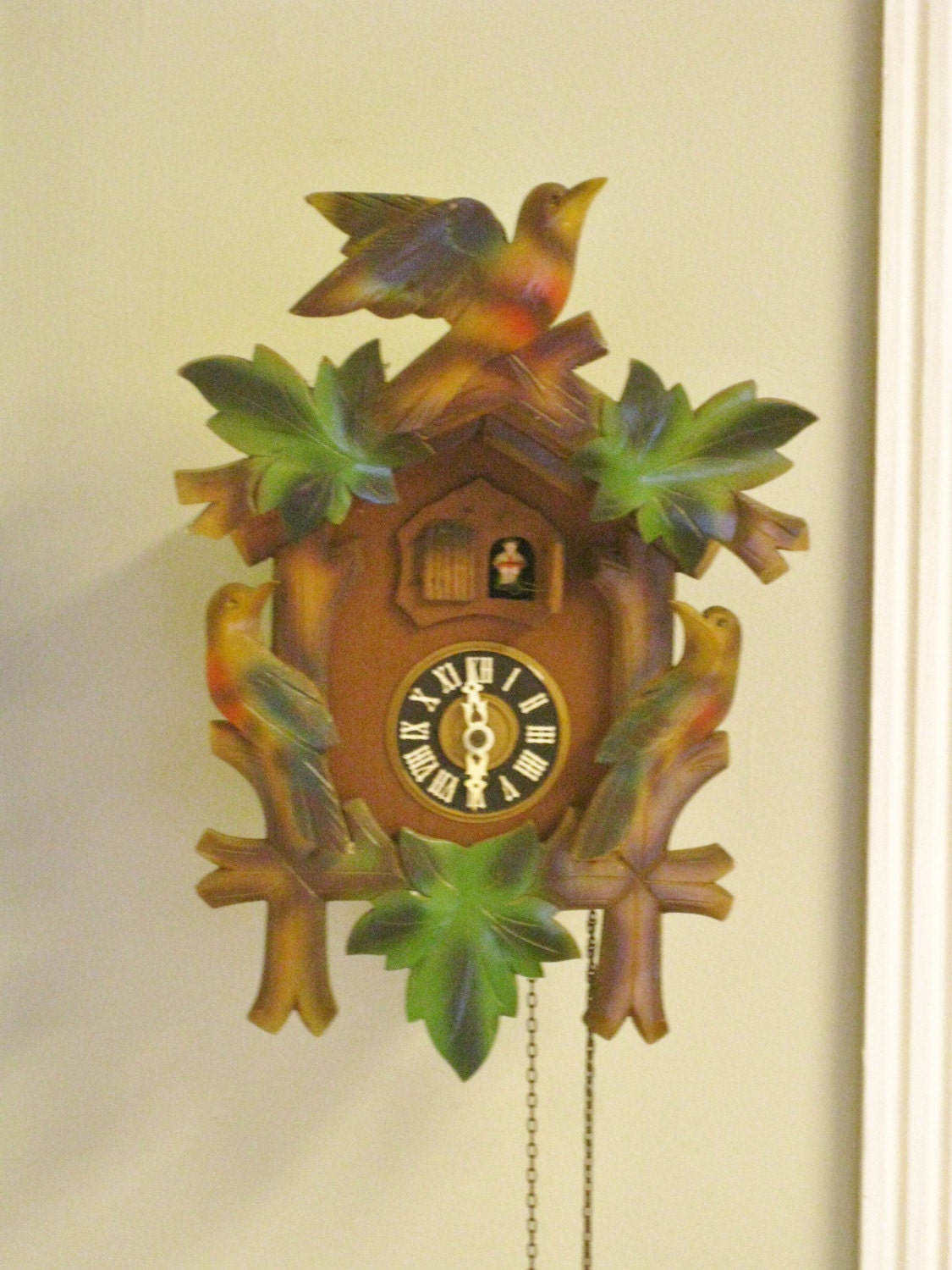 Vintage german cuckoo clock colorful non working decorative - Colorful cuckoo clock ...