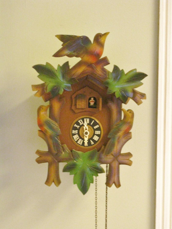 Vintage German Cuckoo Clock Colorful Non Working Decorative