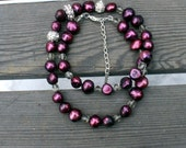 Freshwater pearl necklace - Rhinestones, for gift, engagement, or wedding, for mother of the bride, work /Wine, burgundy