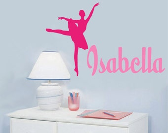 Monogram Name Ballerina Chldren Wall Decal Name EXTRA LARGE
