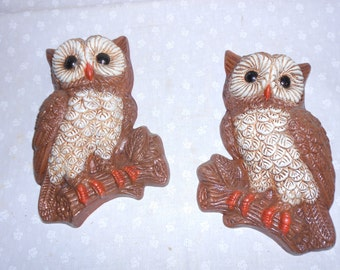 Owls Wall Hanging from Homco set of 2