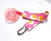 Pacifier Clip for Baby Girl -  Martini Dot Fuchsia - Avent Soothie Clips - Mam Nuk Gumdrop Holder