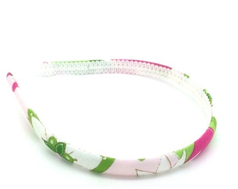 Skinny Flower Headband - Little Girl Headband, Big Girl Headband, Adult Headband - Pink, Lime Gold and White