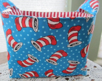 Fabric Organizer Basket Storage Container Bin - Dr Seuss The Cat In The Hats - Blue