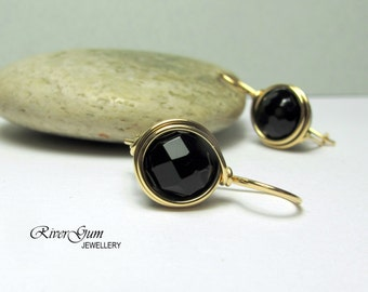 Onyx Earrings, Gold Filled, Medium Gemstone Earrings, Wire Wrapped, Travel Safe, RiverGum Jewellery