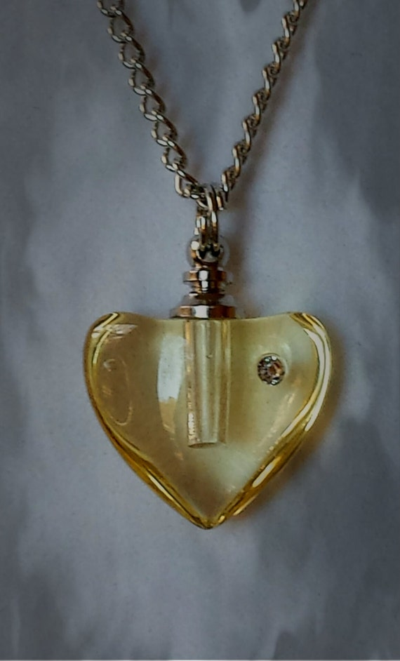 "Amber Crystal Heart with Rhinestone CREMATION URN on 24"" Silver Necklace  -   with Velvet Pouch and Mini Funnel"