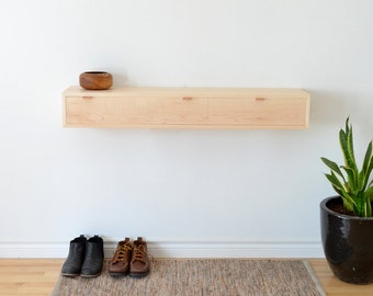 Floating Hall table in maple console
