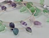 Sale -Fluorite  Leaf Briolettes AAA Fluorite Gemstone Briolette Beads