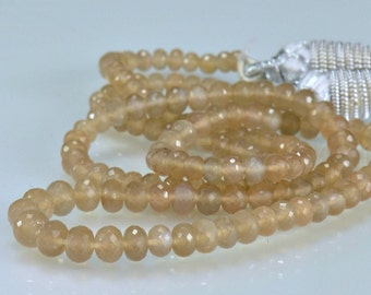 Coffee Moonstone Rondelles AAA Micro Faceted Gemstone Beads  4-5.5mm 8 inches