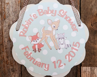 Woodland Baby Shower Door Sign - Woodland Party - Forest Animal Party - Forest Shower - Fawn Baby Shower - It's a Girl Baby Shower