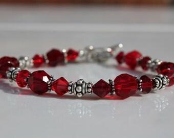 Sterling Silver Valentine's Day Swarovski Crystal  Bracelet
