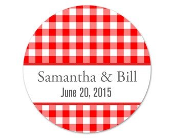 Personalized Wedding Stickers - Custom Labels - Gingham Stickers - Casual Wedding Labels - Wedding Favor Stickers - Choose Your Colors