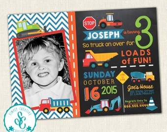 Construction Birthday Invite - Chalk Board Style With Photo