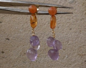 Earrings with orange garnets, eosits and amethysts, 18 ct  gold,