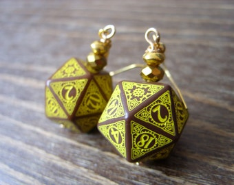 D20 steampunk dice earrings dice jewelry dnd dungeons and dragons toothed bar pathfinder steam punk dice brown yellow gold