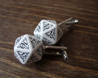 D20 dice cuff inks elf elven wedding cuff links pathfinder gamer dungeons and dragons white black elvish tolkien runes runic inscription