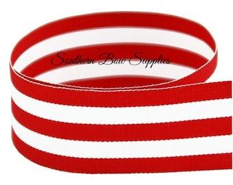 1.5 inch Grosgrain Ribbon---3 Yards---Stripes---Red White---Hair bow Making Supplies