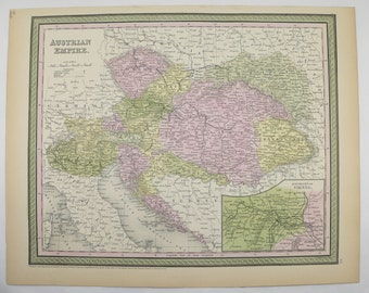 1855 Mitchell Austria Map, Austrian Empire, Antique Map Hungary, Transylvania Map Bohemia, Vintage Art Gift for Office for Coworker