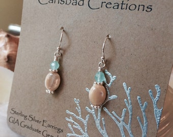 Sterling silver, mother of pearl and Peruvian chalcedony earrings