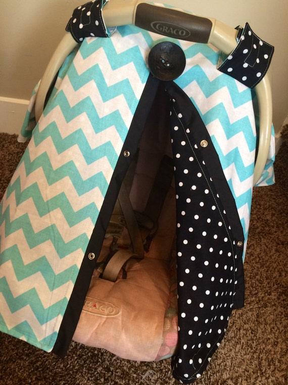 Carseat Canopy Aqua Chevron and Black dots  / Car seat cover / car seat canopy / carseat cover / carseat canopy / nursing cover
