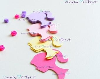 """120 Barbie Silhouette Die cuts 2.50"""" -Barbie Silhouettes Paper Labels -Barbie Silhouettes Tags -Paper tags -Cardstock die cuts"""