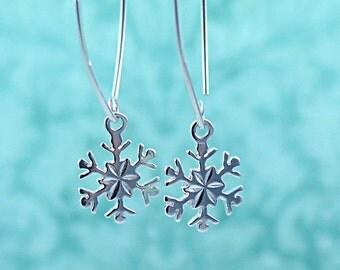 Sterling Silver Snowflake Earrings Snowflake Dangle Earrings Snowflake Jewelry Christmas Jewelry