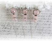 Pink Crystal Teapot Stick Pins Scrapbooking , Cardmaking, Sewing, Wearables, Tag Art, Mini Album, Weding