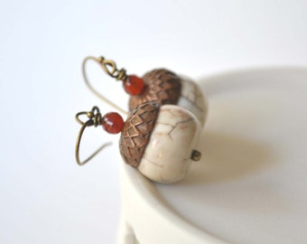 White Acorn Earrings, Stone Bead Earrings, Fall Jewelry