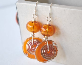Orange Earrings, Lampwork Earrings, Glass Bead Earrings, Long Earrings