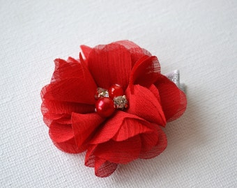 Red flower hair clip, flower hair clip, hair clips for girls, toddler hair clip, flower girl hair clips, hair accessories for girls