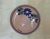 Vintage Tonala Mexican Folk Art Pottery Trinket Dish / 1970s Signed Mexican Stoneware Small Shallow Bowl / Flor de Tonala Souvenir Dish