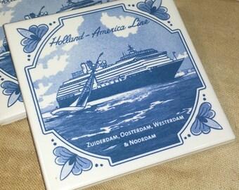 Set of 4 Vintage Holland America Line Delft Coasters Cruise Ships Zuiderdam, Oosterdam, Westerdam, Noordam / MCM Delft Cruise Ship Coasters