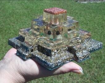 "ORGONE Reiki Crystal Pyramid 6"" Mayan Money Magnet Aventurine"