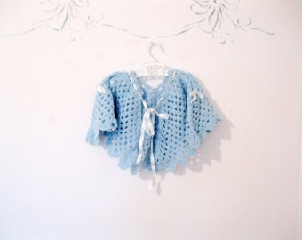 Baby Poncho, Crochet Poncho, Sweater, 1 to 2 years, blue, antique