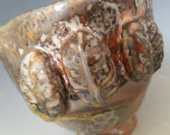 Handmade Wood-Fired Textured Pottery Pinch Pot Cup with Shino Glaze