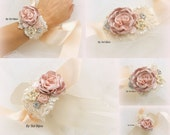 Wrist Corsage, Champagne, Tan, Beige, Rose, Blush, Bridal, Cuff, Bracelet, Maid of Honor, Mother of the Bride, Peals, Crystals, Lace