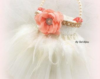 Flower Girl Basket, Coral, Ivory, Gold, Tutu Basket, Vintage, Elegant Wedding, Pearl Basket, Pearl Handle, Feather, Lace, Crystals, Tulle,