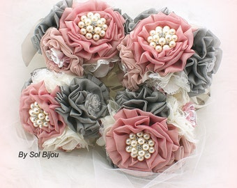 Bridesmaids Bouquets, Brooch Bouquets, Ivory, Dusty Rose, Mauve, Silver, Gray, Vintage Style, Elegant, Maid of Honor, Lace, Pearls, Crystals
