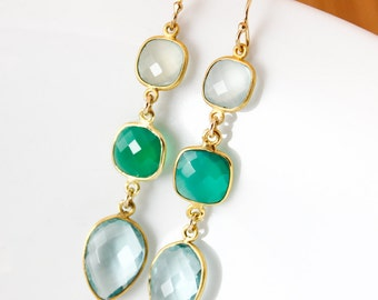 Gold Aqua Chalcedony, Green Onyx & Aqua Quartz Earrings - Sea Green - 14K GF