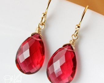 Gold Ruby Quartz Earrings - Red Quartz - July Birthstone Earrings