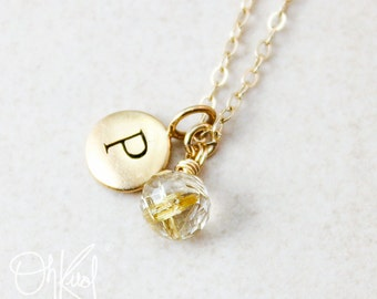 Small Rutilated Quartz Necklace - Gold Rutile Quartz - Gold or Silver