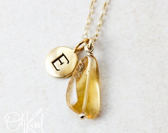 Free Form Citrine Necklace - Natural Citrine Pendant - Initial Necklace