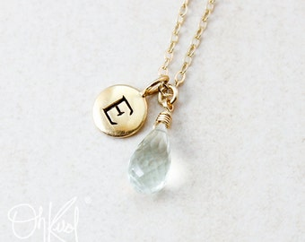 Green Amethyst Necklace - Initial Charm - Thank You Gifts